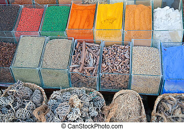 Cooking spices on sale in a city market at orient country