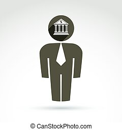 Silhouette of person standing in front - vector illustration...