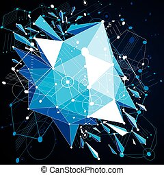 Geometric Bauhaus 3d vector blue background with low poly...