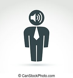 White collar office worker man icon with loudspeaker,...