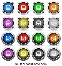 Bus button set - Set of bus glossy web buttons Arranged...