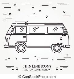 Travel bus family camper thin line. Traveler truck tourist bus outline icon. RV travel bus grey and white vector pictogram isolated on white. Summer bus family travel concept. Vector illustration.