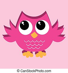 a lovely colorful pink owl