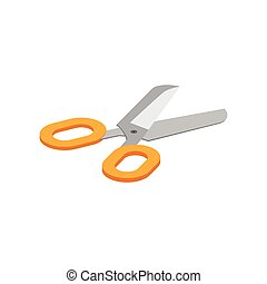Isometric illustration on a white background with the image of scissor. Vector illustration.