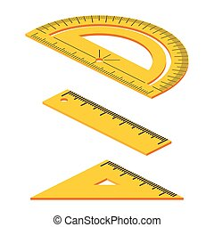 Set of Isometric measuring tools: rulers, triangles, protractor. Vector school instruments isolated on white background.