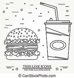 Vector thin line icon hamburger and soda For web design and...