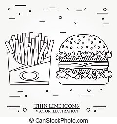 Vector thin line icon hamburger and fries For web design and...