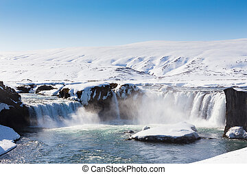 Waterfall and clear blue sky - Beautiful big waterfall and...