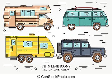 Set of Tourist bus, SUV, trailer, jeep, RV camper trailer, Traveler truck.  Summer trip family travel concept.  Thin line icon. Vector illustration.