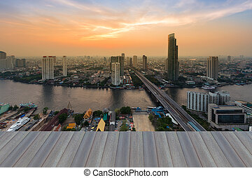 Bangkok river and beautiful sky