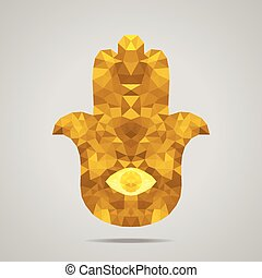 Abstract polygonal Hamsa amulet Gold - Protective amulet in...