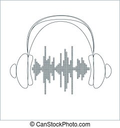 Vector sound wave with headphones Equalizer Music polygons...