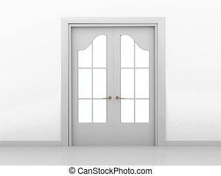 Closed door - Closed wooden door. 3d render