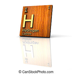 Hydrogen form Periodic Table of Elements - wood board