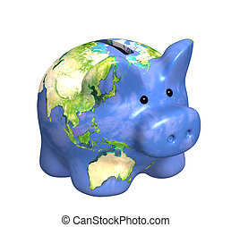 Earth - Planet the Earth in piggy bank form