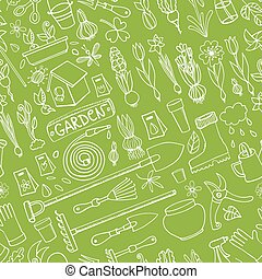 Spring garden doodles.Colored seamless pattern.Linear -...