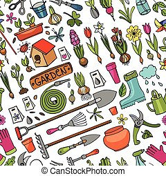 Spring garden doodle seamless pattern.Colored - Spring...