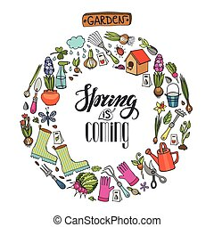 Spring garden wreath.Flowers,plants,tools,lettering - Spring...