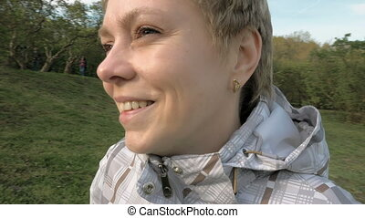 Pretty blond short hair woman portrait outdoors - Pretty...