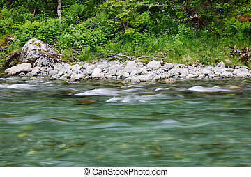 Glacial river - Beautiful fast pure glacial river with...