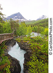 Glacial river, Norway - Beautigul powerful Glacial river in...