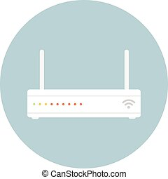 Vector of flat icon, wifi router on isolated background