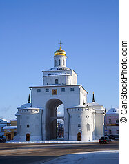 Golden Gates at Vladimir in winter day