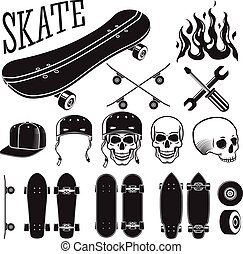 Vector set of skateboarding designer elements Skates and...