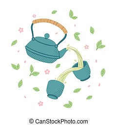 Japanese green tea set - Japanese tea set. Teapot pouring...