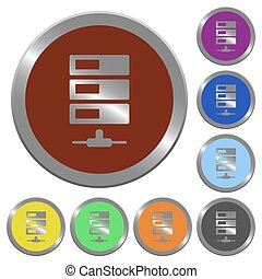 Color data network buttons - Set of color glossy coin-like...