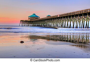 Folly Beach Pier at Sunrise - Sunrise on Folly Beach Pier in...