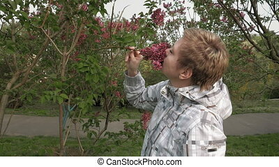 Pretty blond girl sniffing lilac flowers in park - Pretty...