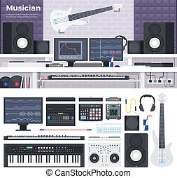 Musician workspace with musical instruments - Musician...