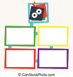 Four colored frames for your text with cogwheels