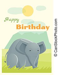 Birthday and invitation card animal background with elephant