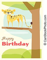 Birthday and invitation card animal background with cheetah