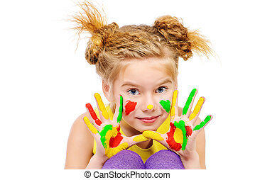 positive art - Cute little girl with painted colorful hands...