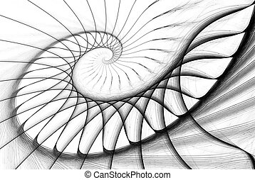 spiral staircase black on white computer generated image