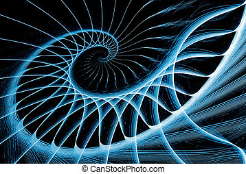 spiral staircase blue on black computer generated image