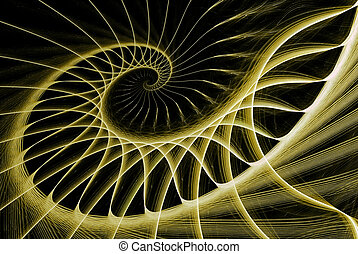 spiral staircase yellow on black computer generated image