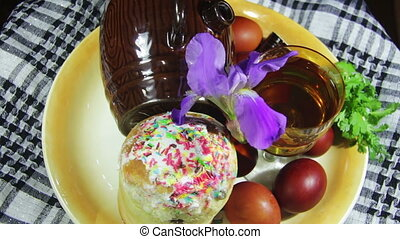Easter Rotate on a Plate with Eggs and Barrels of Georgian...