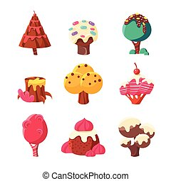 Trees Made Of Sweets Set Of Colorful Simple Design Vector...