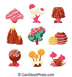 Fantasy Sweet Trees Set Of Colorful Simple Design Vector...