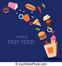 Fast Food Flying In Paper Bag Flat Bright Colors Simple...