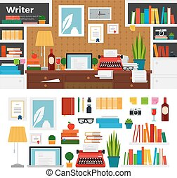 Writer cabinet interior with books - Writer working place...