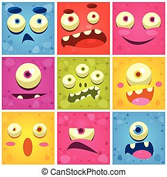 Monster Faces Collection Of Cute Cartoon Funny Images In...