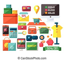 Shopping Related Objects Set