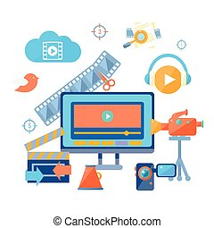 On-line Cinema Icon Collection Flat Colorful Vector Drawing...