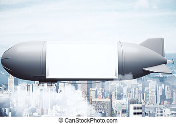 grey airship with billboard city - Grey airship with blank...