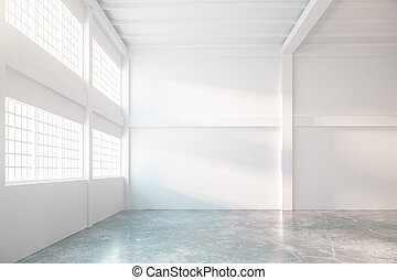 Hangar interior - Bright hangar interior with concrete floor...